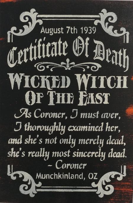 "12"" x 18""  Certificate Of Death"