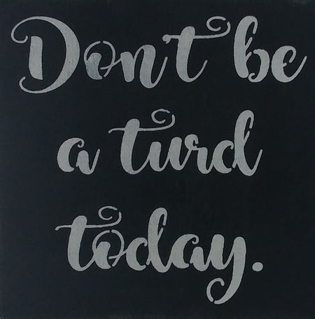 "12"" x 12"" Don't Be A Turd Today"