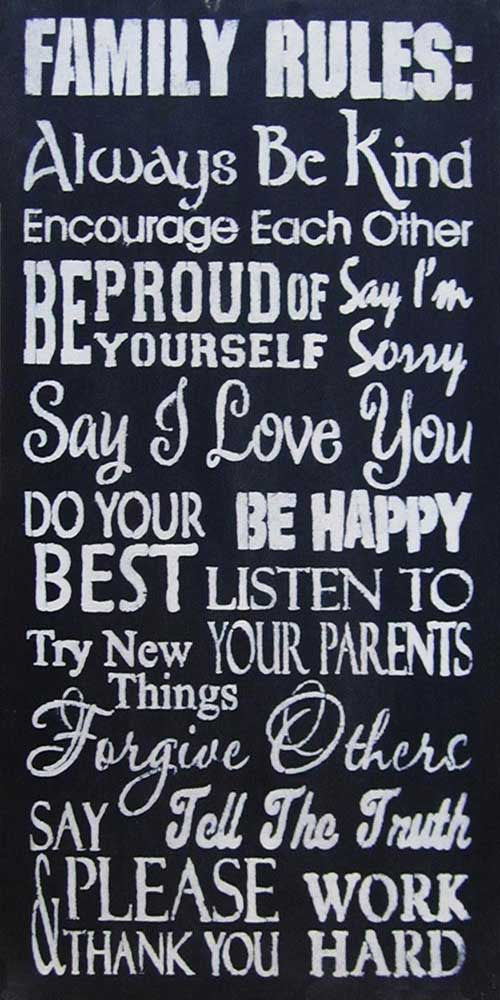 "12"" x 24"" Family Rules 3"