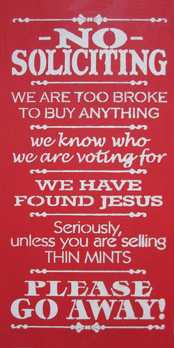 "12"" x 24"" No Soliciting..."