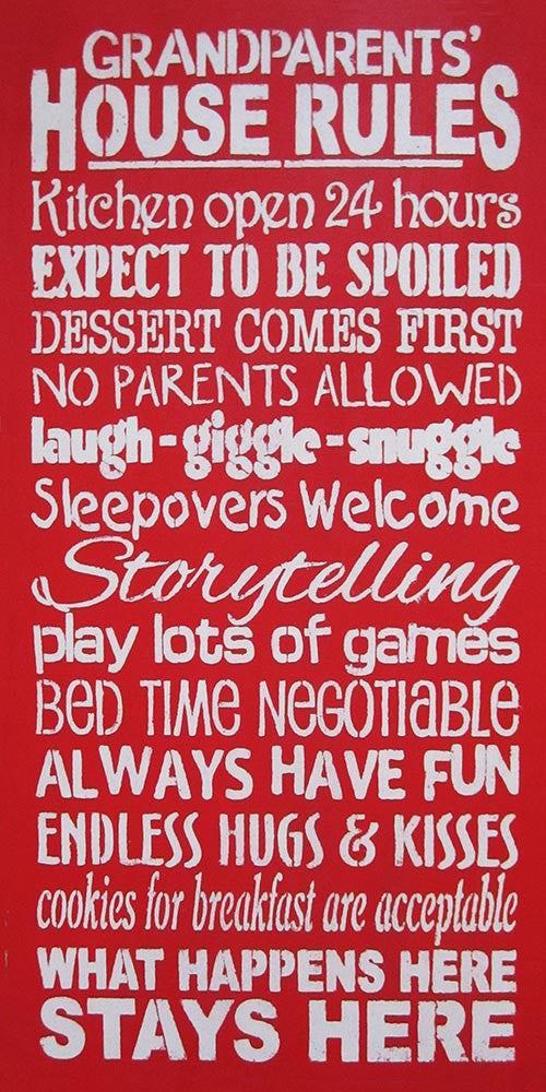 "12"" x 24"" Grandparents' House Rules"