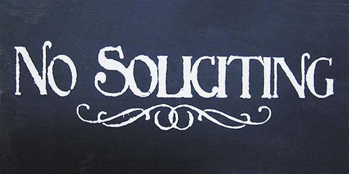 "6"" x 12"" No Soliciting"