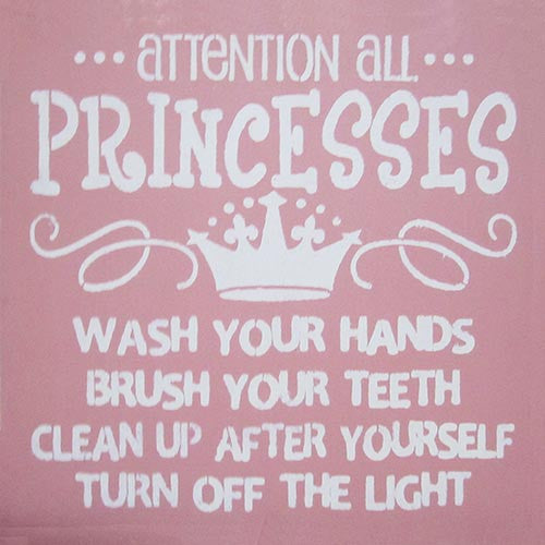 "12"" x 12"" Attention All Princesses..."