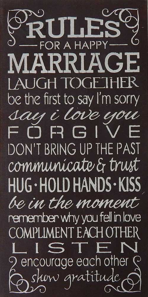 "12"" x 24"" Rules for a Happy Marriage..."