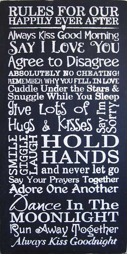 "12"" x 24"" Rules for Our Happily Ever After..."