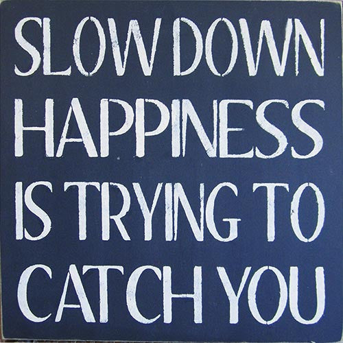 "16"" x 16"" Slow Down Happiness is Trying to Catch You"