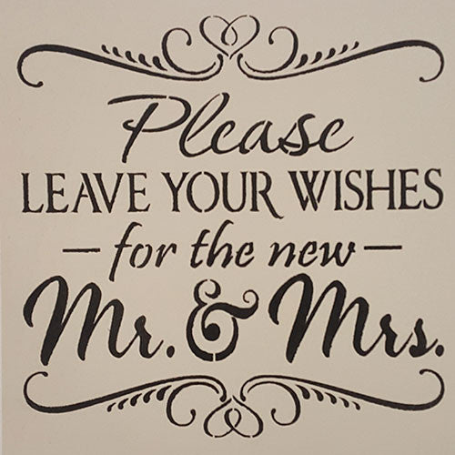 "14"" x 14"" Please Leave Your Wishes for the New Mr. & Mrs."