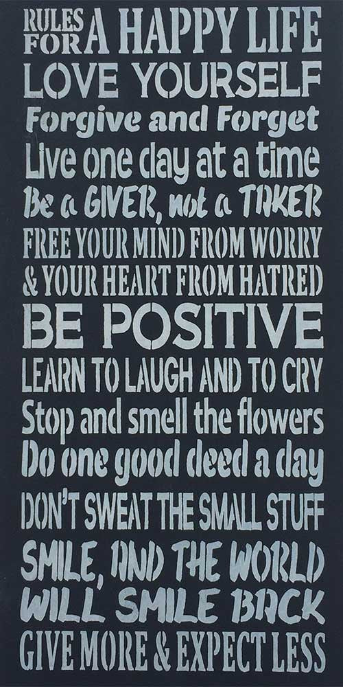"12"" x 24"" Rules for a Happy Life"