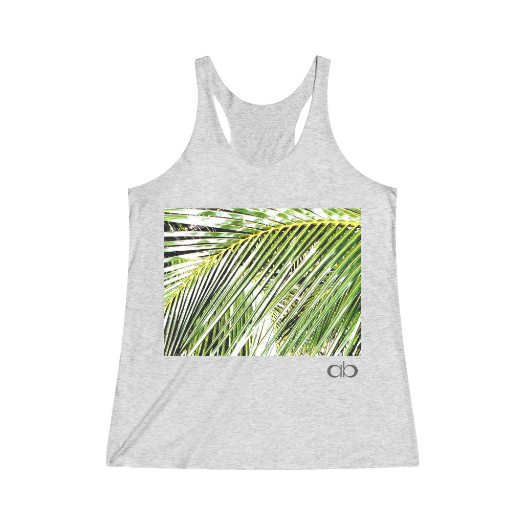 Filtered Palm: Women's Tri-Blend Racerback Tank
