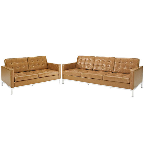 Kenne Loveseat and Sofa Leather 2 Piece Set