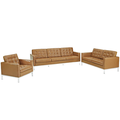 Kenne Armchair Loveseat and Sofa Set Leather 3 Piece Set