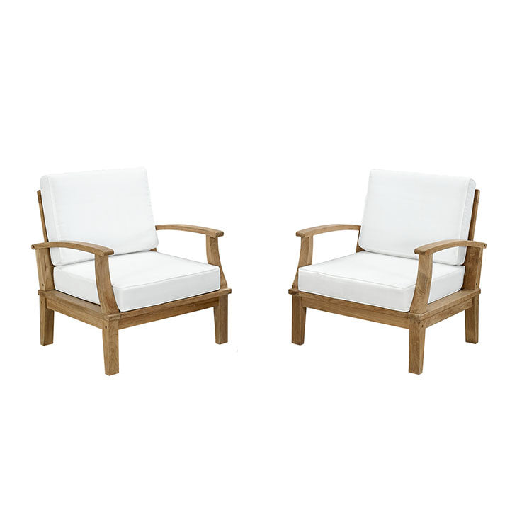 Ginald 2 Piece Outdoor Patio Teak Sofa Set