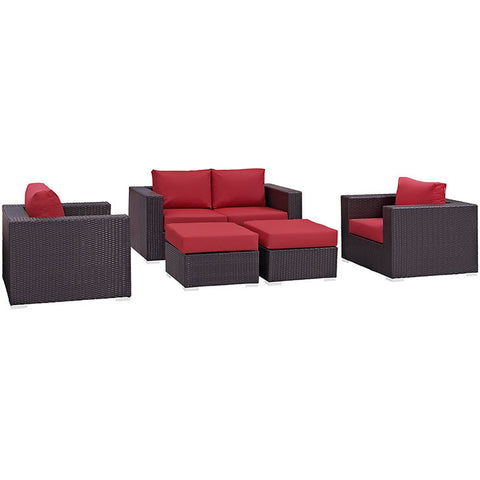 Gabrian 5 Piece Outdoor Patio Sofa Set