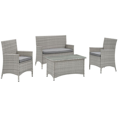 Derri 4 Piece Outdoor Patio Patio Conversation Set