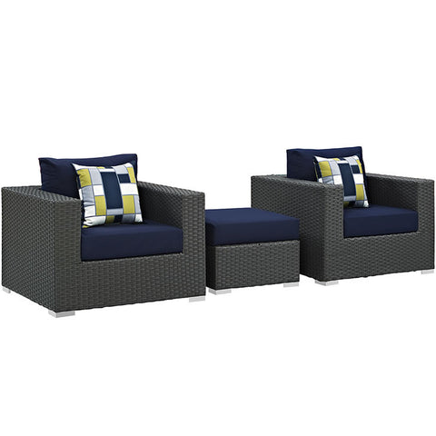 Anger 3 Piece Outdoor Patio Sunbrella® Sectional Set