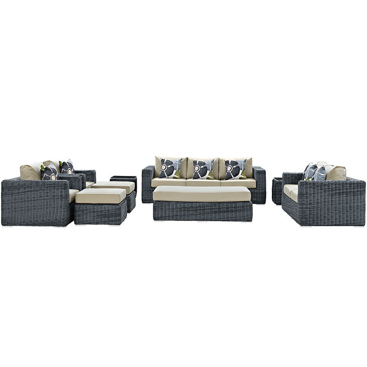 Clydianne 9 Piece Outdoor Patio Sunbrella® Sectional Set