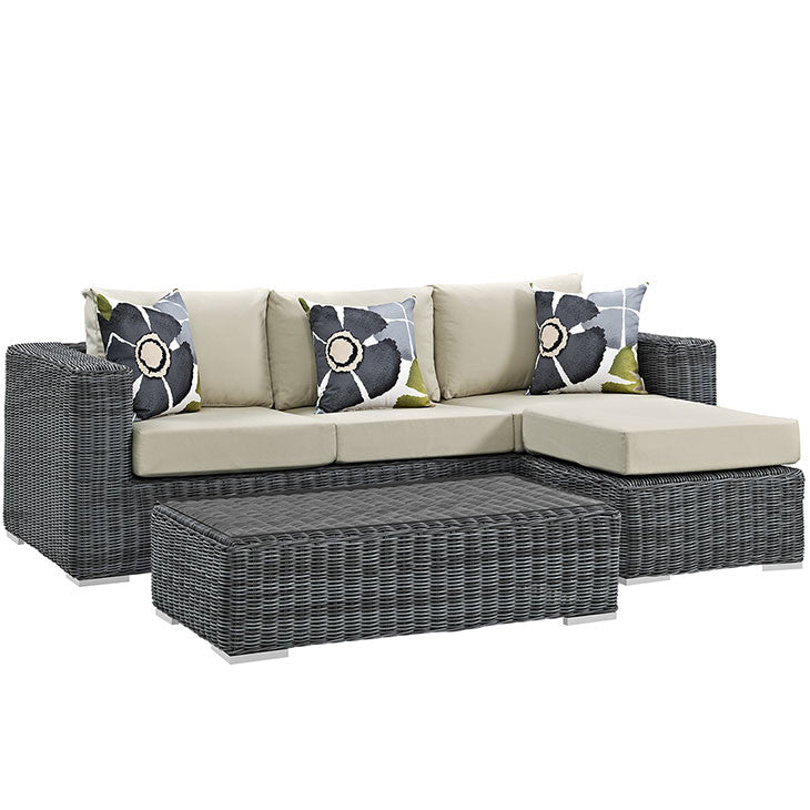 Clydianne 3 Piece Outdoor Patio Sunbrella® Sectional Set