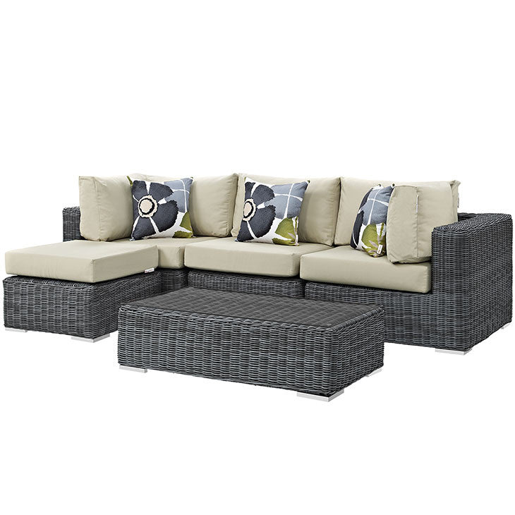 Clydianne 5 Piece Outdoor Patio Sunbrella® Sectional Set