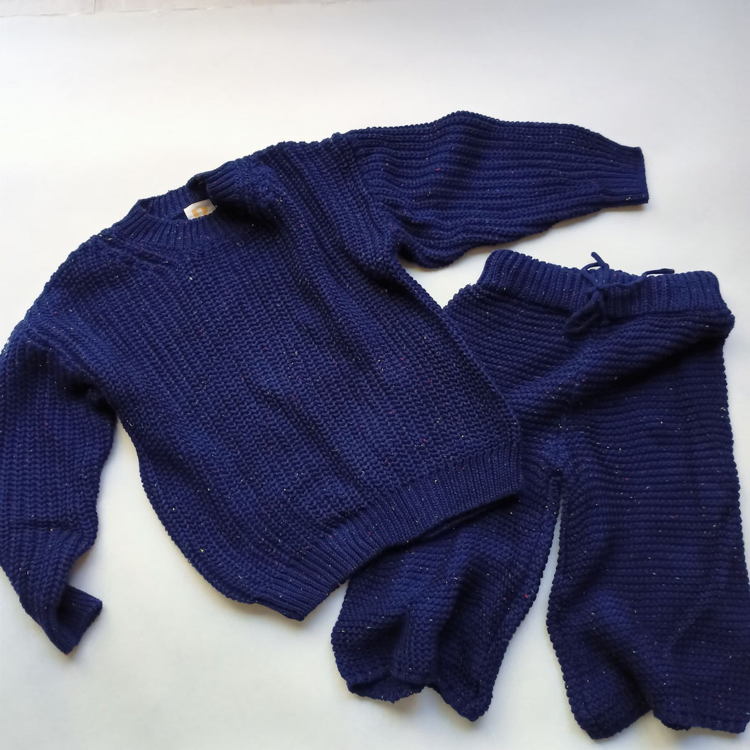 Chunky Knit Set - Navy speckle