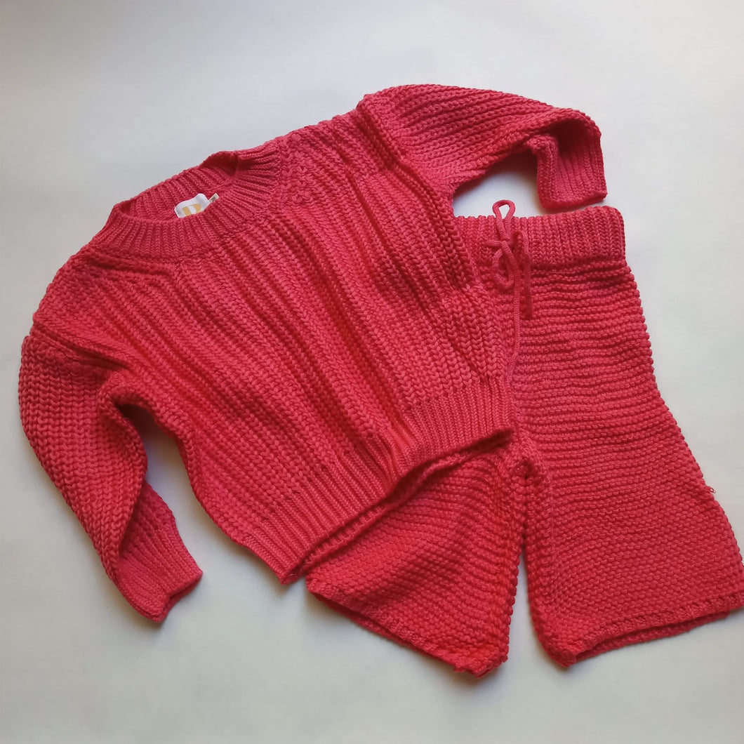 Chunky Knit Set - Coral