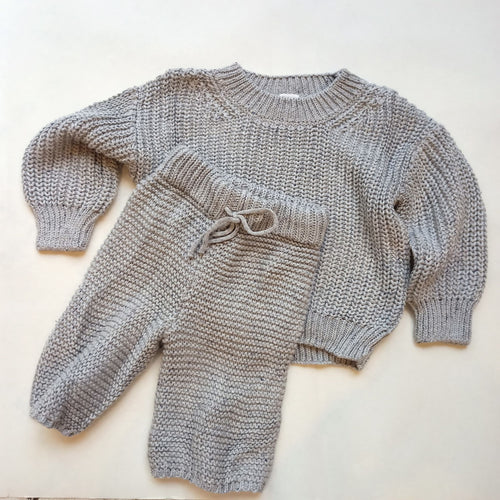 Chunky Knit Set - Grey speckle