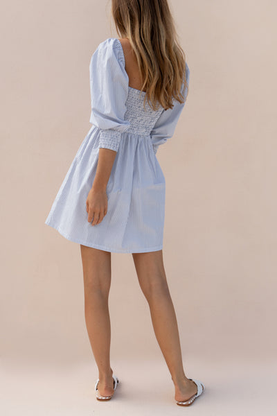 ALLEGRA DRESS - BLUE AND WHITE STRIPE