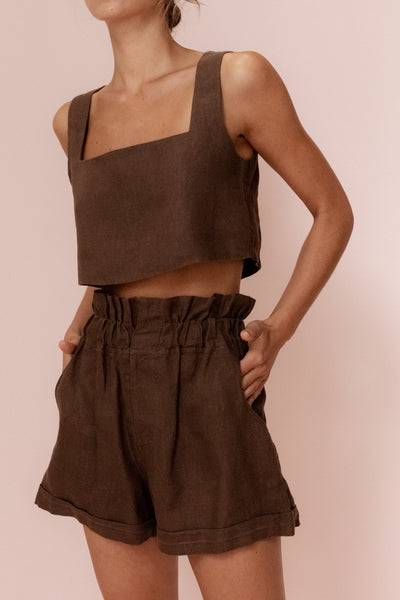 ALICE CROP TOP - CHOCOLATE