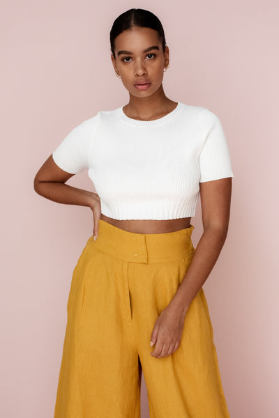 MADELINE CROP TOP - IVORY