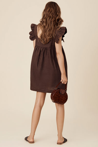 JUDE MINI DRESS - CHOCOLATE
