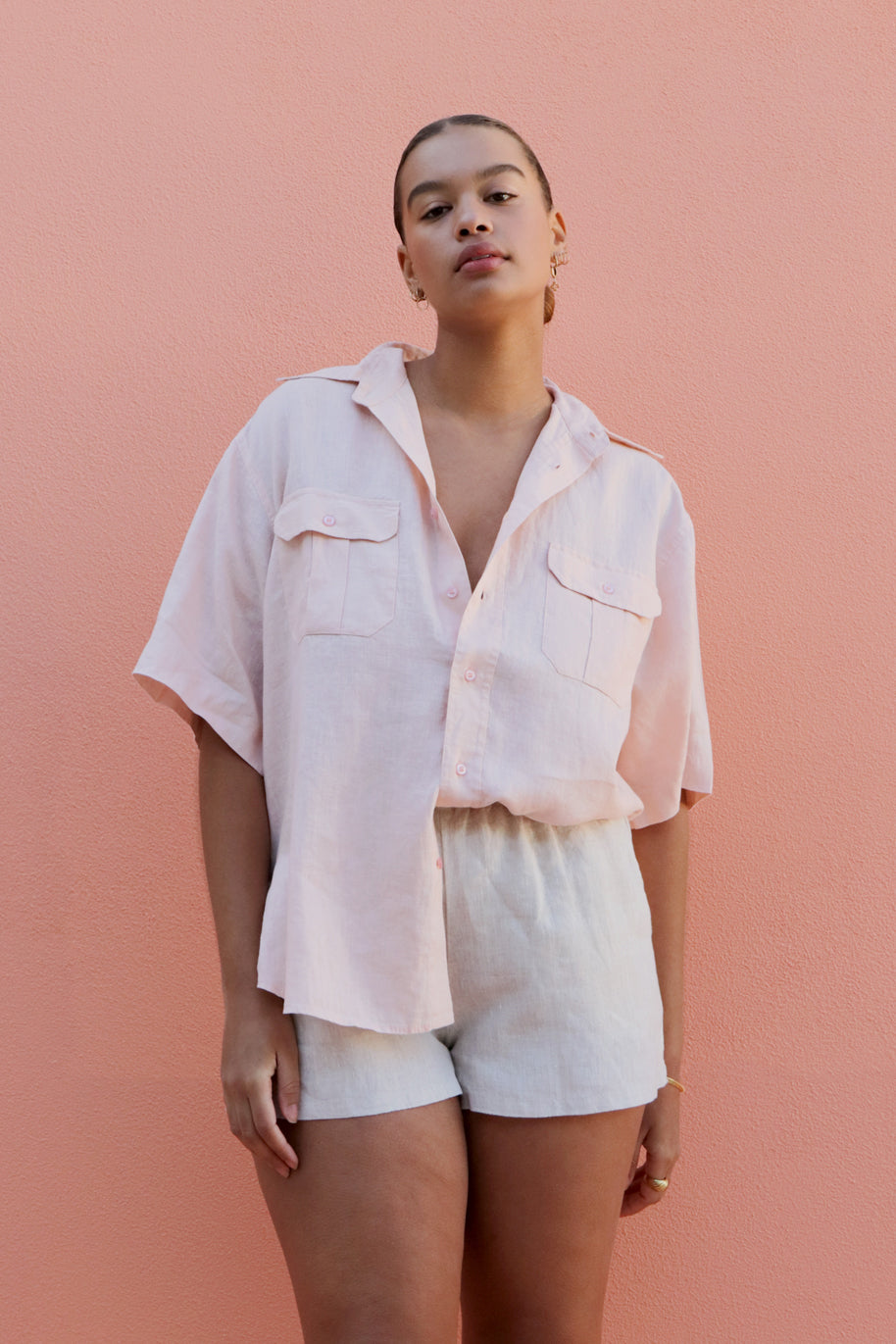 ROSETTE SHIRT - PALE BLUSH