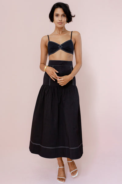CLOVER MIDI SKIRT - BLACK
