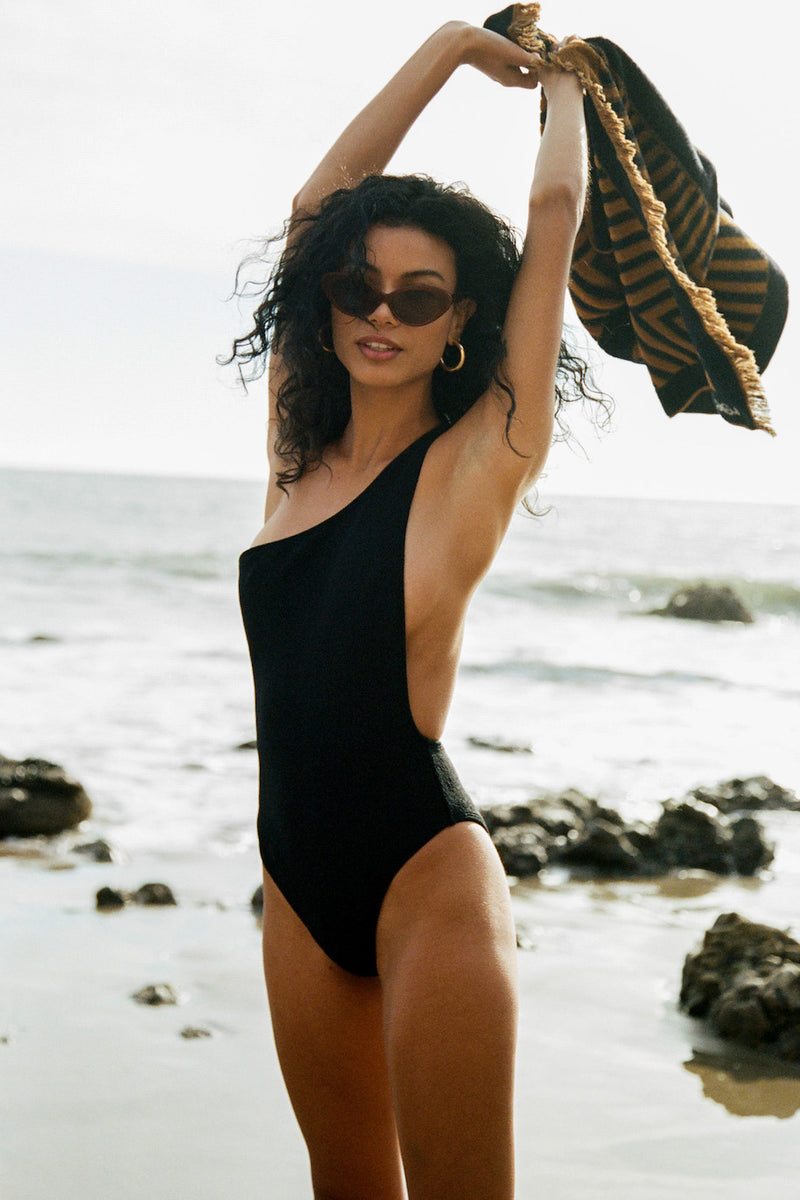 POSSE X WANDERLUST SWIM - PHILOMENA ONE PIECE - BLACK