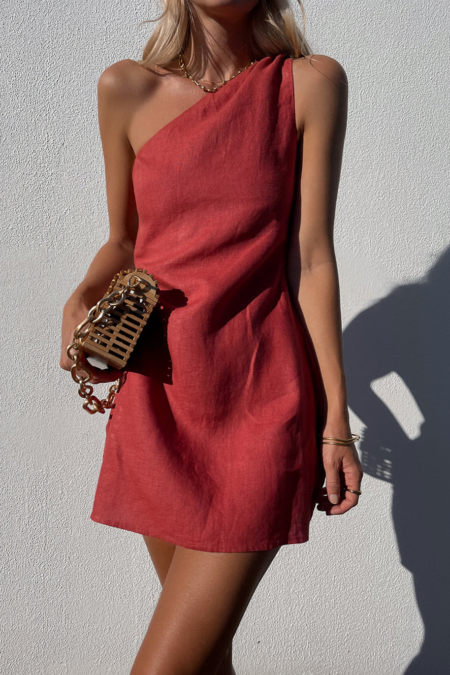 AUBREY DRESS - JAM RED
