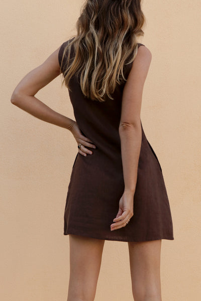 ALICE MINI DRESS - CHOCOLATE