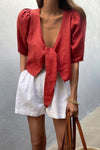 AGATHA BLOUSE - JAM RED