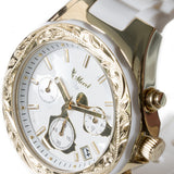 Chronograph Island Watch Gold Face + White Belt