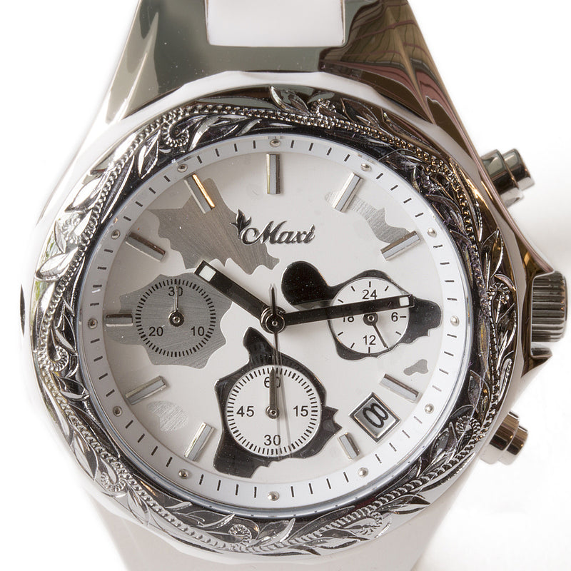Chronograph Island Watch Silver Face + White Belt