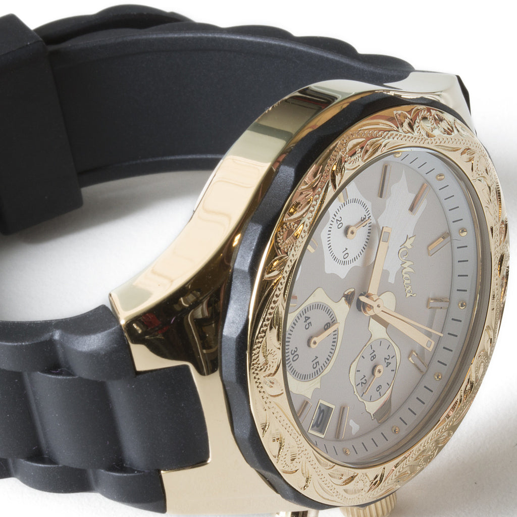 Chronograph Island Watch Gold Face + Black Belt