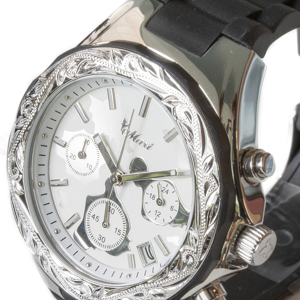 Chronograph Island Watch Silver Face + Black Belt
