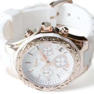 Chronograph Island Watch Pink Gold Face + White Belt