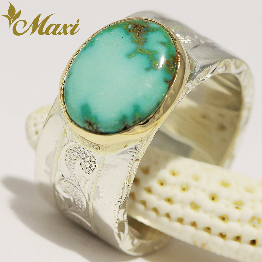 [Silver 925/ 14K Yellow Gold] 10mm*2mm Turquoise Ring with Honu [Made to Order]