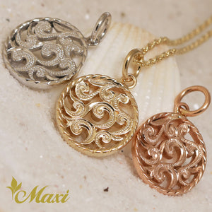 [14K Gold] Round Scroll Pendant-Hand Engraved Traditional Hawaiian Design (P0497)