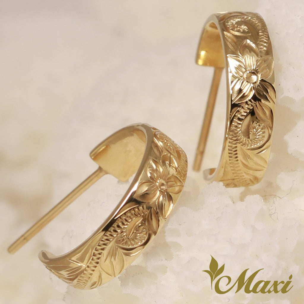 [14K Gold] Hoop Pierced Earring Large-Hand Engraved Traditional Hawaiian Design *Made to Order* (E0151)