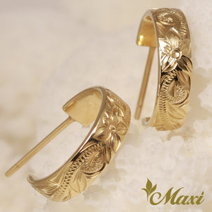 14K Gold Hoop Pierced Earring Large-Hand Engraved Traditional Hawaiian Design (E0151)