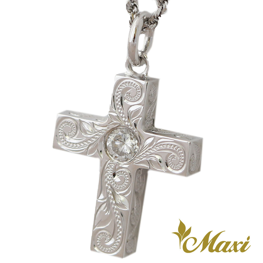 [14K Gold] 20mm(h)4(w)4thick 3.75zirconia Cross Pendant*Made-to-order*