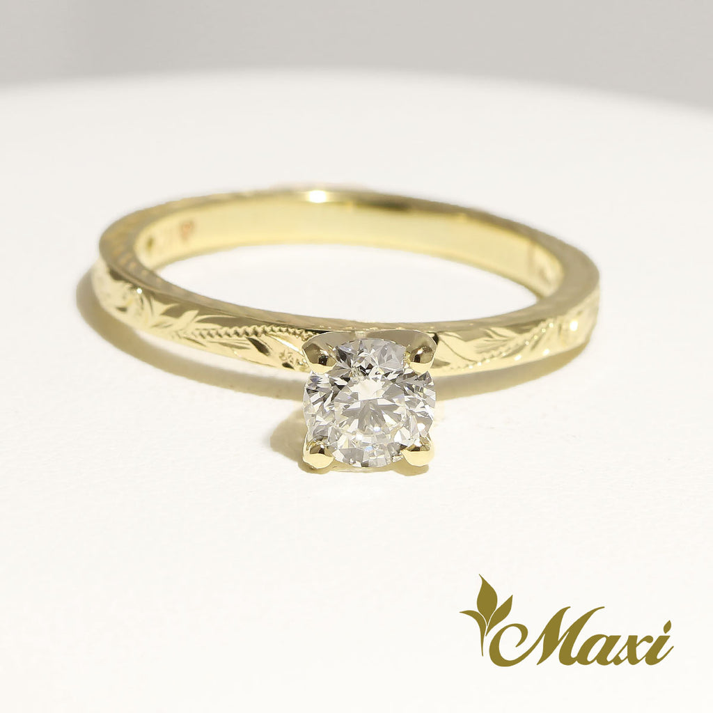 [14K Gold] 2mm Flat Engagement Ring-0.5 carats Diamond *Made to Order*