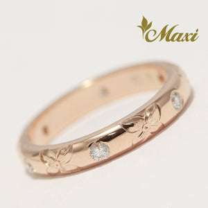 [14K Gold] 3mm Width 6 Diamonds Ring