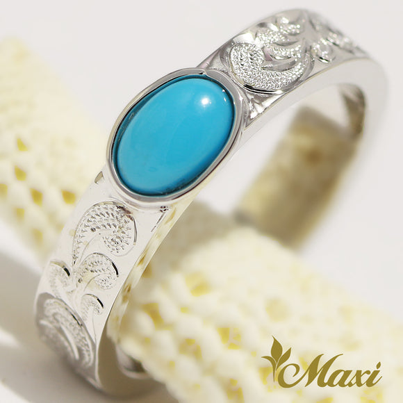 [14K Gold] 4mm Sleeping Beauty Turquoise Ring
