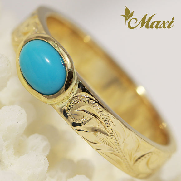 [14K Gold] 4mm*1.5mm Flat Turquoise Ring [Made to Order]