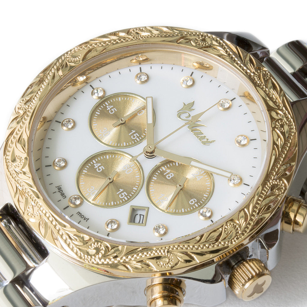 Chronograph Watch Yellow Gold + Silver